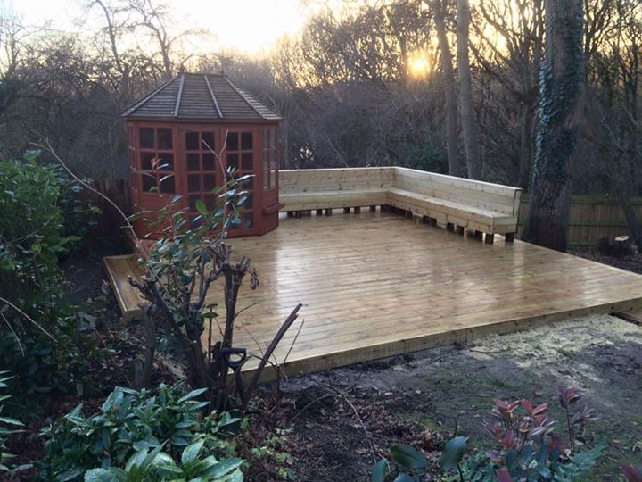 Decking and seating area installed and completed for Garden decking seating areas