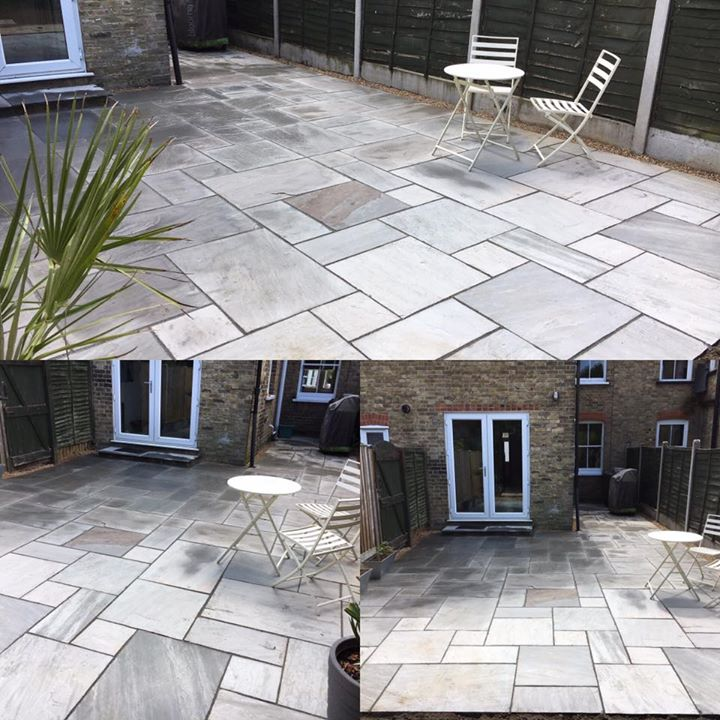 Large Patio Area Installed Using Silver Grey Sand Stone